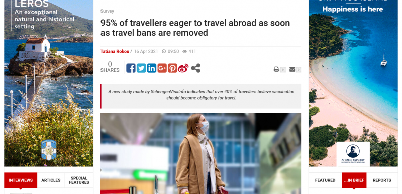 95% of travellers eager to travel abroad as soon as travel bans are removed