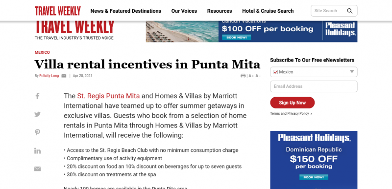 Villa rental incentives in Punta Mita