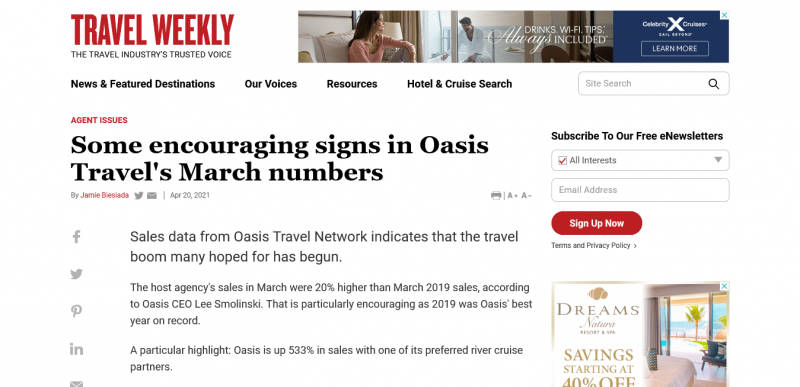 Some encouraging signs in Oasis Travel's March numbers