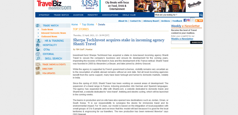 Sherpa TechInvest acquires stake in incoming agency Shanti Travel