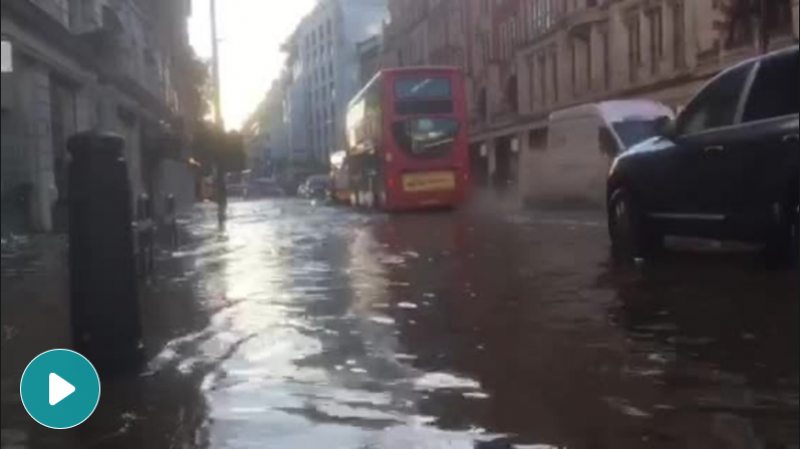 London travel chaos after overnight torrential rain causes flash floods