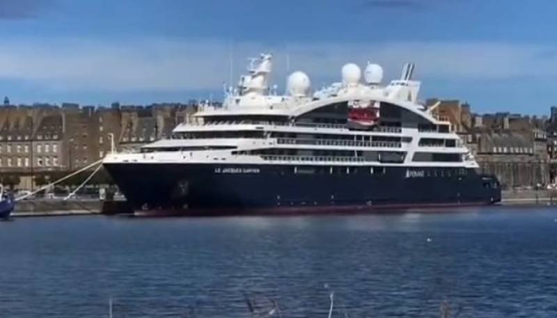 Unique cruise ship 'Le Jacques Cartier' docks in Malaga
